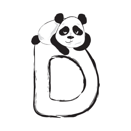 Panda bear cute animal english alphabet letter D with cartoon baby font illustrations 矢量图像