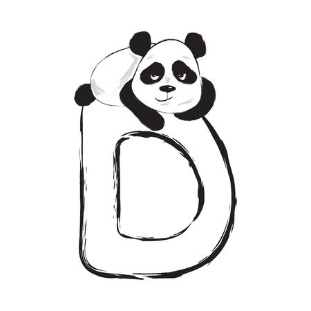 Panda bear cute animal english alphabet letter D with cartoon baby font illustrations Illustration