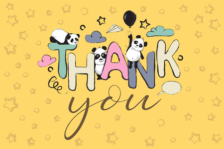 Color Thank you greeting card design with cute panda bears and quote Illustration