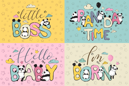 Color greeting cards design set with cute panda bears and quote s