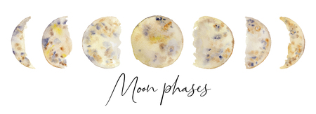 Moon phases watercolor set hand drawn illustration isolated on white background