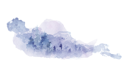 Watercolor abstract silhouette of a forest with pine trees  hand paited vector illustration