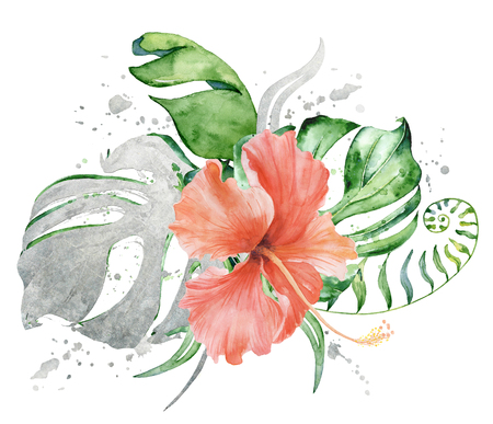 Tropical watercolor flowers and leaves. Exotic bouquet isolated on white background. Composition for invitation and prints