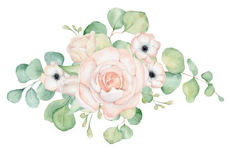 Anemone and rose  flowers and eucalyptus leaves watercolor bouquet hand drawn illustration Stockfoto