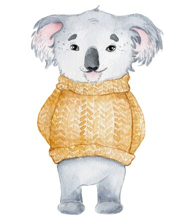 Koala bear cute animal character watercolor hand drawn illustration