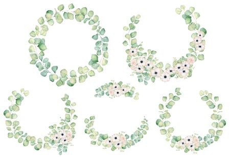 Anemone and rose  flowers and eucalyptus leaves watercolor wreath  hand drawn illustration