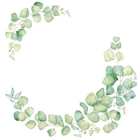 Green eucalyptus leaves watercolor wreath hand drawn illustration