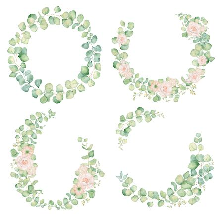 Pink rose flowers and eucalyptus leaves watercolor wreath hand drawn illustration Stockfoto