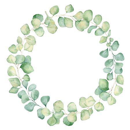 Ilustración de dibujado a mano de guirnalda de acuarela de hojas de eucalipto verde