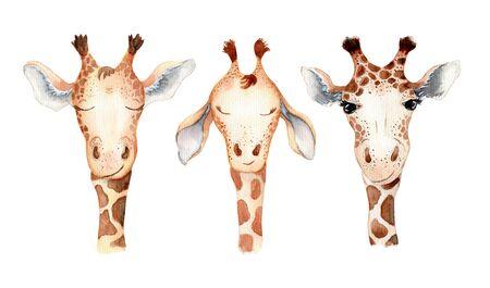 Cute giraffe cartoon watercolor illustration Hand drawn animal set Foto de archivo - 130598602