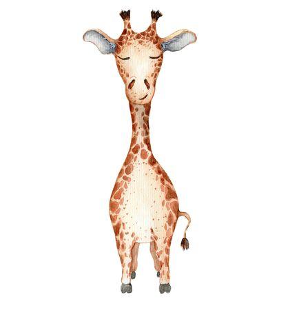 Cute giraffe cartoon watercolor illustration Hand drawn animal Foto de archivo - 130598610
