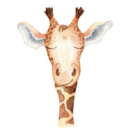 Cute giraffe cartoon watercolor illustration Hand drawn animal Foto de archivo - 130598613