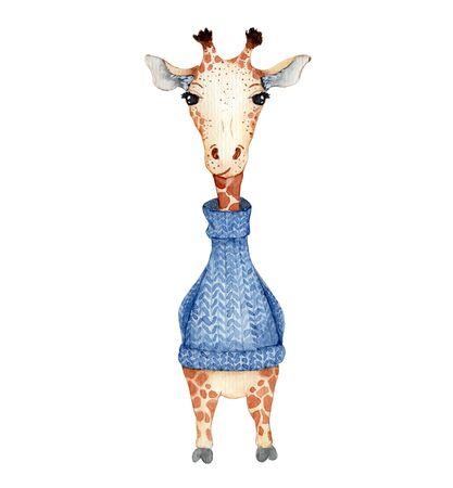Cute giraffe in a blue knitted sweater cartoon watercolor illustration Hand drawn animal Stockfoto