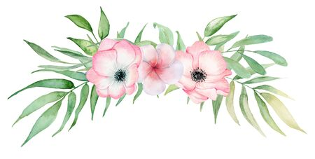 watercolor tropical plants bouquet. Exotic flowers and leaves, botany elements Stockfoto