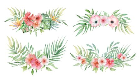 watercolor tropical plants bouquets set. Exotic flowers and leaves, botany elements