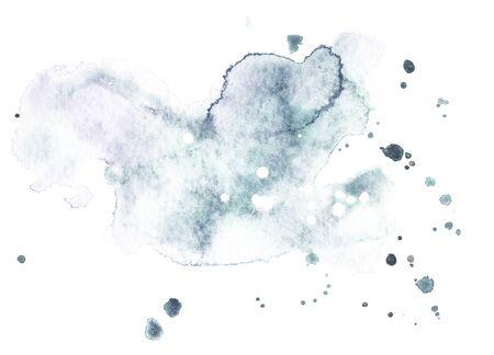 Akwarela splash na białym tle. Grunge atrament kleksa i upuść tekstury