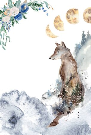 Watercolor Christmas card template with wolf, moon phases and floral wreath