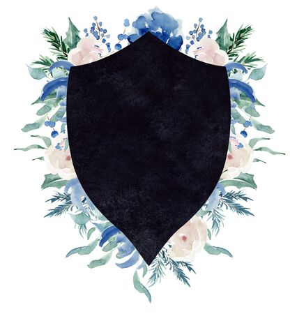 Watercolor crest winter floral frame Hand drawn template Stock Photo