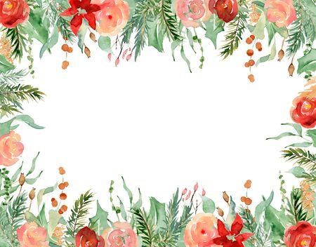 Floral winter arrangement hand drawn illustration. Christmas Decoration Print Design Template