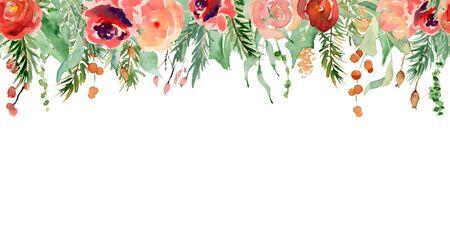 Floral winter seamless border hand drawn illustration. Christmas Decoration Print Design Template