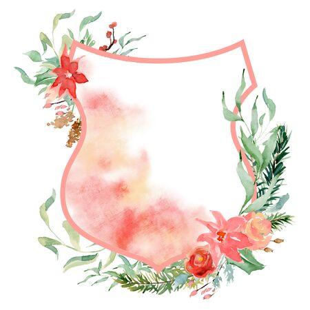 Watercolor crest winter floral frame Hand drawn template Archivio Fotografico