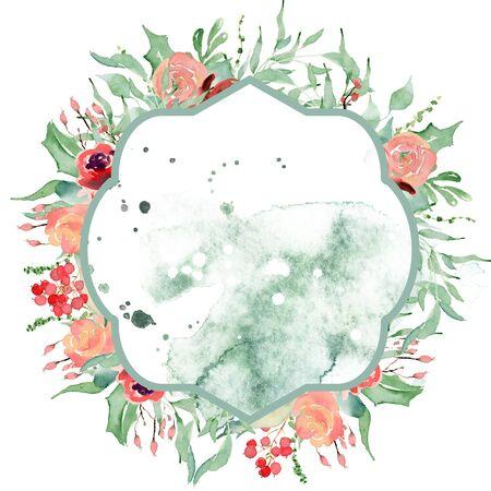 Watercolor crest winter floral frame Hand drawn template Foto de archivo - 134590257