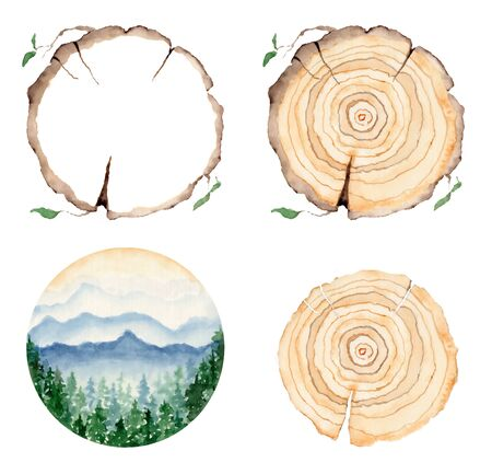 watercolor landscape with pine and fir trees and mountains abstract nature background, forest template, hand drawn illustration Foto de archivo - 135081803