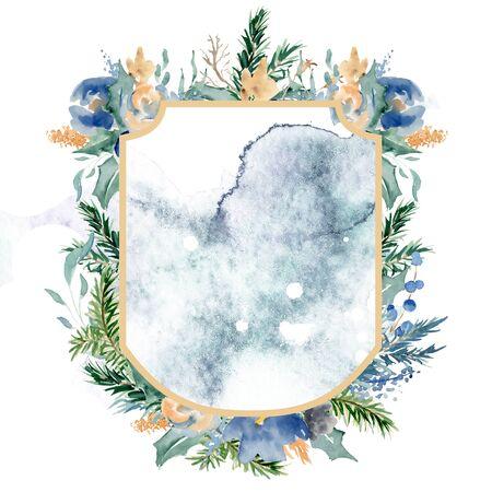 Watercolor crest winter floral frame Hand drawn template Foto de archivo - 134590266