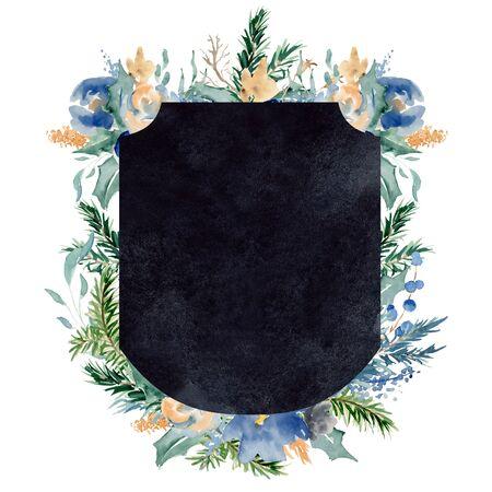 Watercolor crest winter floral frame Hand drawn template Foto de archivo - 134590279