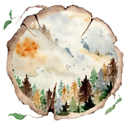 watercolor landscape with pine and fir trees and mountains abstract nature background, forest template, hand drawn illustration Foto de archivo - 135081772