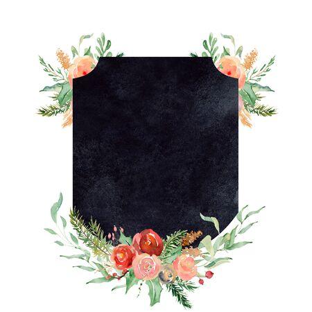 Watercolor crest winter floral frame Hand drawn template Foto de archivo - 134607673