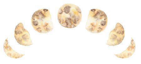 Fases de la luna de acuarela amarilla aisladas sobre fondo blanco diseño de espacio moderno