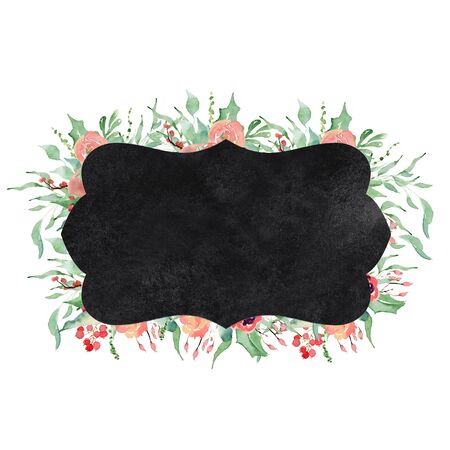 Watercolor crest winter floral frame Hand drawn template