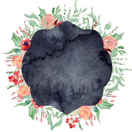 Watercolor crest winter floral frame Hand drawn template Foto de archivo - 134607698