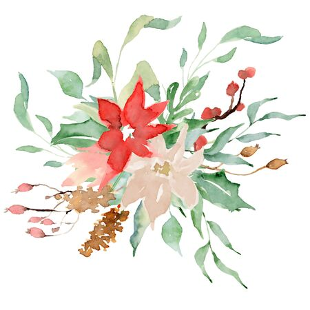 Floral winter wreath hand drawn illustration. Christmas Decoration Print Design Template Foto de archivo - 134607693
