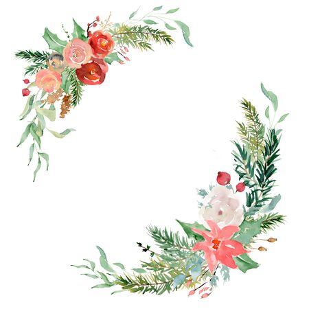 Floral winter wreath hand drawn illustration. Christmas Decoration Print Design Template
