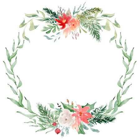 Floral winter wreath hand drawn illustration. Christmas Decoration Print Design Template Foto de archivo - 134607697