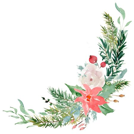 Floral winter wreath hand drawn illustration. Christmas Decoration Print Design Template Foto de archivo - 134607699
