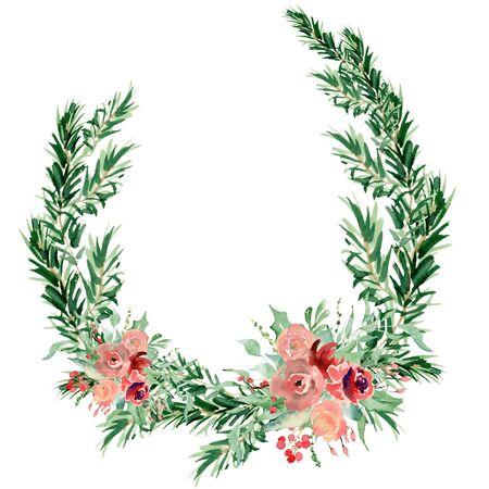 Floral winter wreath hand drawn illustration. Christmas Decoration Print Design Template Foto de archivo - 134607700