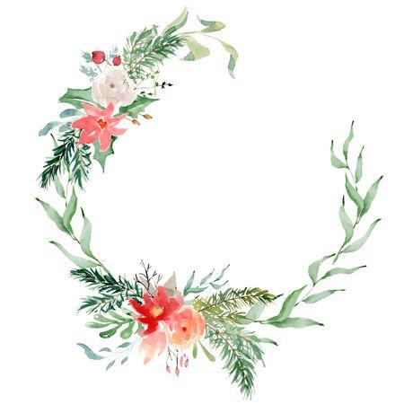 Floral winter wreath hand drawn illustration. Christmas Decoration Print Design Template Foto de archivo - 134607701
