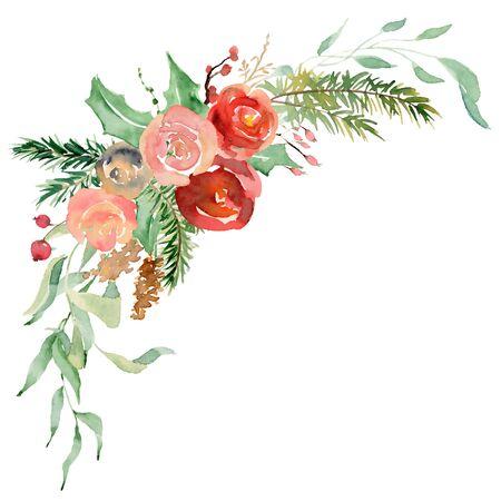 Floral winter wreath hand drawn illustration. Christmas Decoration Print Design Template Foto de archivo - 134607704