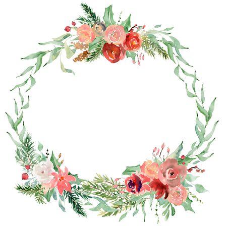 Floral winter wreath hand drawn illustration. Christmas Decoration Print Design Template Foto de archivo - 134607705