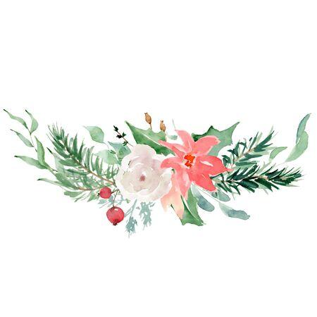 Floral winter wreath hand drawn illustration. Christmas Decoration Print Design Template Foto de archivo - 134607716