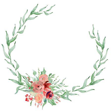 Floral winter wreath hand drawn illustration. Christmas Decoration Print Design Template Foto de archivo - 134607706