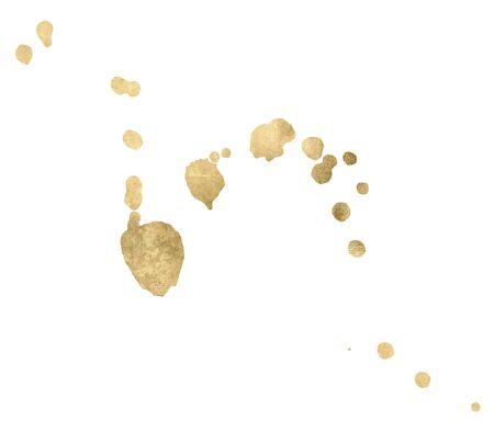 Watercolor gold Drop Splash Vector Hand drawn design Foto de archivo - 135403478