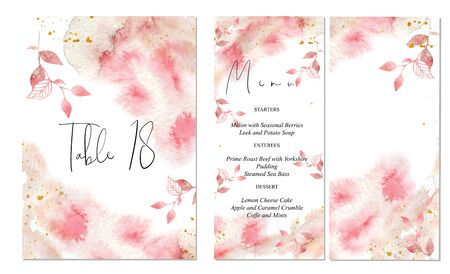 Pink and gold wedding set with abstract hand drawn watercolor background. Includes menu and table number templates. Vector set Foto de archivo - 135426793