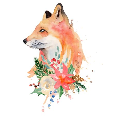 Watercolor fox with flowers Animal illustration isolated on white background. Hand drawn Foto de archivo - 135453074