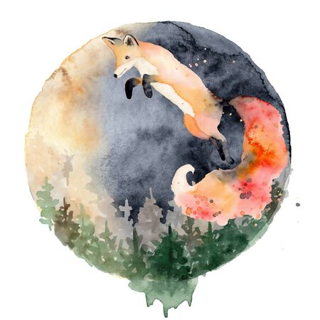 Watercolor fox  Animal illustration isolated on white background. Hand drawn Foto de archivo - 135453042