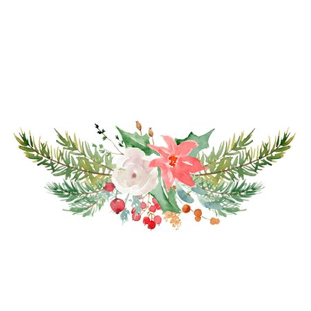 Floral winter wreath hand drawn illustration. Christmas Decoration Print Design Template Foto de archivo - 135453208
