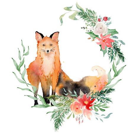 Watercolor fox with flowers Animal illustration isolated on white background. Hand drawn Foto de archivo - 135453195